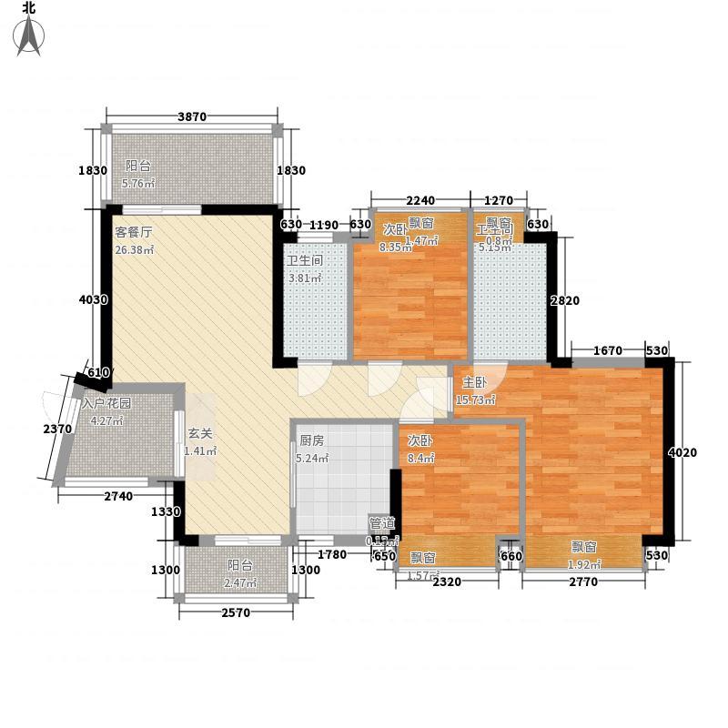 东港华府8.31㎡1/2号楼04户型3室2厅2卫1厨