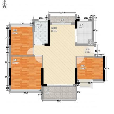 日升昌阳光御园3室1厅1卫1厨69.94㎡户型图