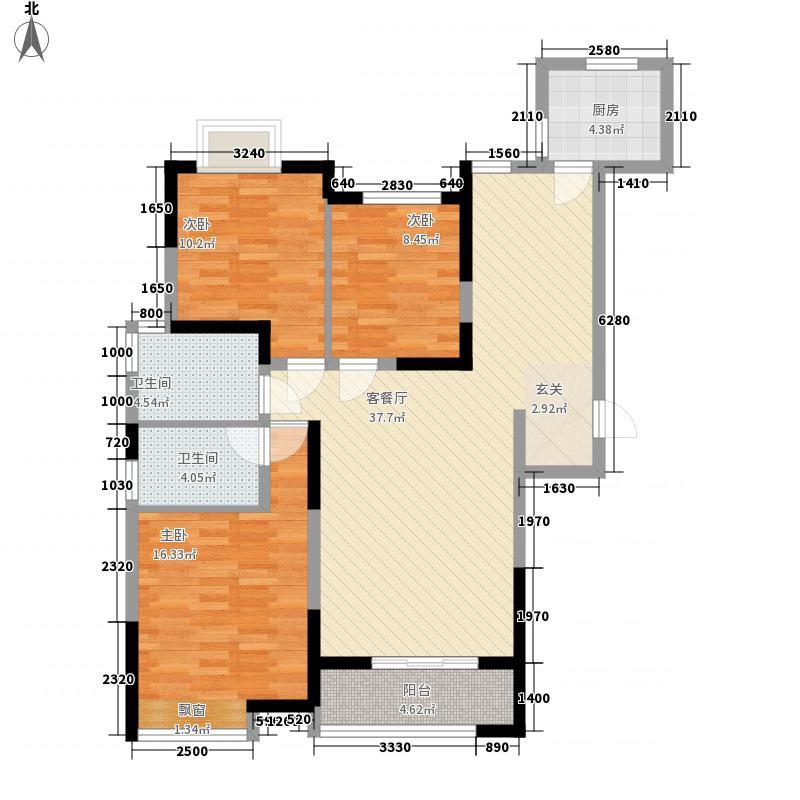郁金香中心136.00㎡宽景公寓C户型3室2厅2卫