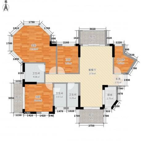 纯水岸花园3室1厅3卫1厨133.00㎡户型图