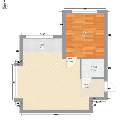 �盛苑1室1厅1卫0厨55.00㎡户型图