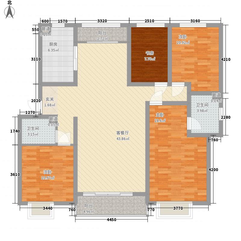 昆泉天籁村161.42㎡28号楼C户型4室2厅2卫1厨