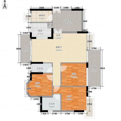 光耀城市广场3室1厅2卫1厨143.00㎡户型图