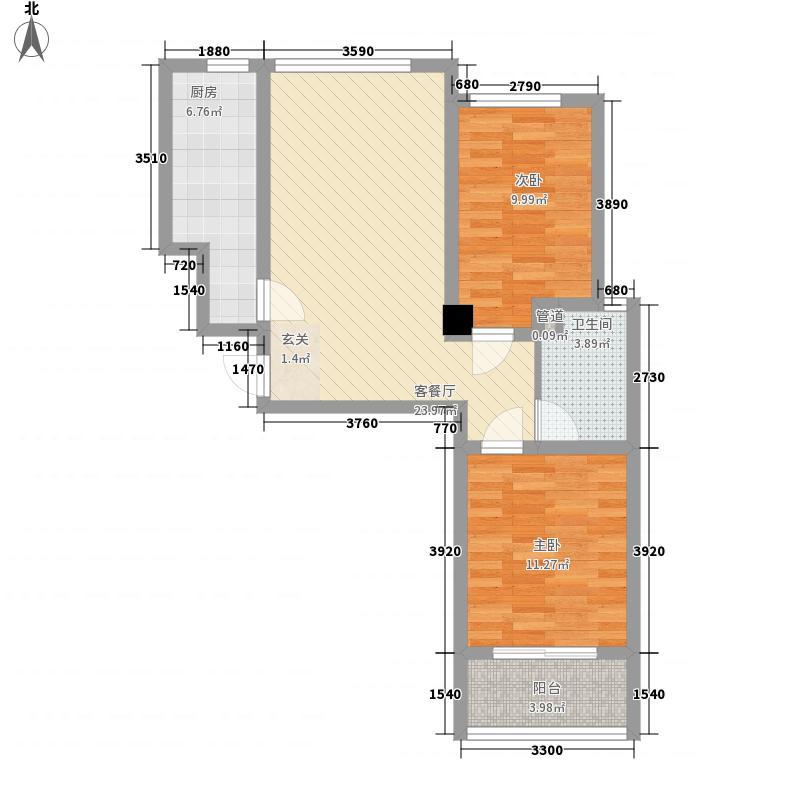 九州方圆国际88.00㎡4号楼G户型2室2厅1卫1厨