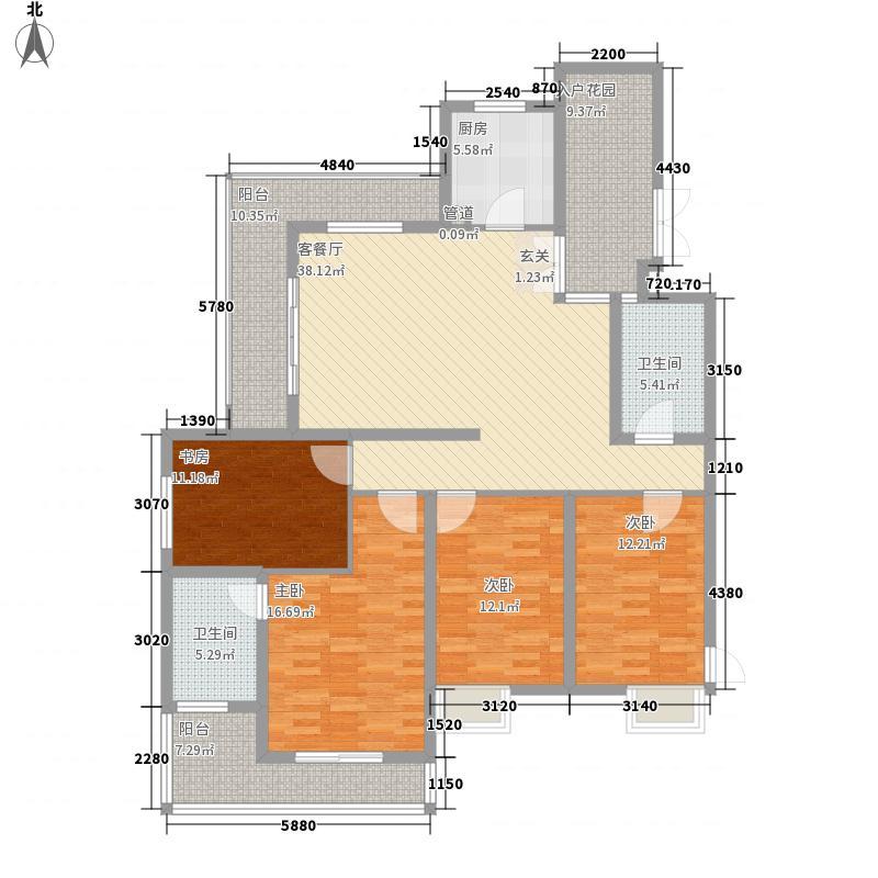 滨湖世纪城162.46㎡8区12#0104户型4室2厅2卫1厨