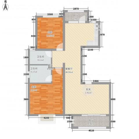祥泰香榭花堤2室1厅2卫0厨98.80㎡户型图