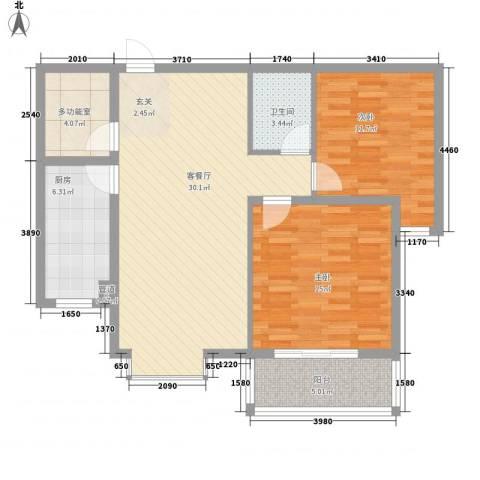 迎西城・建安佳园2室1厅1卫1厨107.00㎡户型图