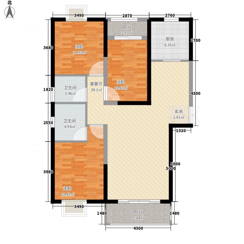 升龙凤凰城136.34㎡A区G6户型3室2厅2卫1厨