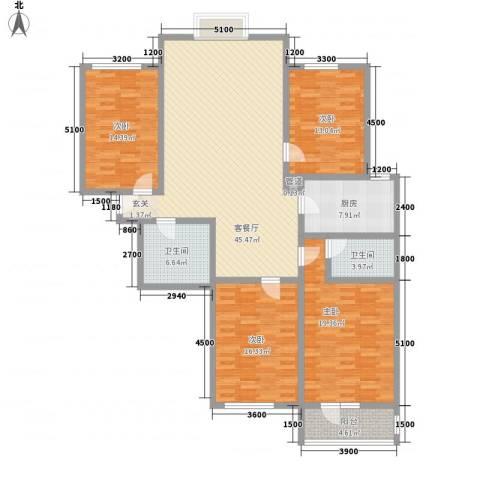 美丽新世界4室1厅2卫1厨183.00㎡户型图