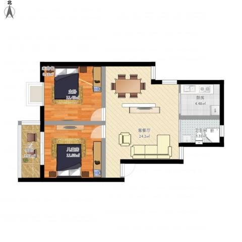 谭桥公寓2室1厅1卫1厨84.00㎡户型图