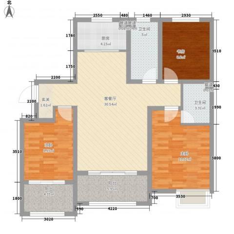 天力城3室1厅2卫1厨99.38㎡户型图