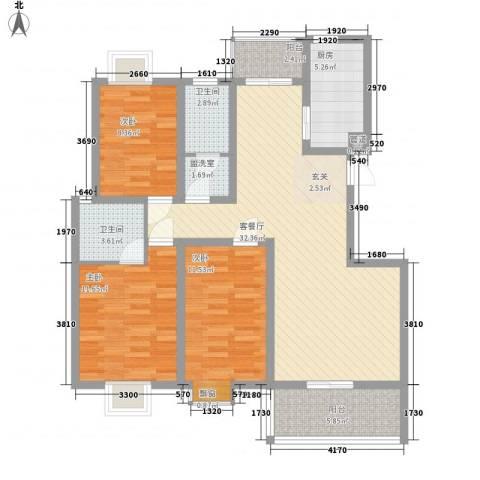 华林・灌南春天3室1厅2卫1厨127.00㎡户型图