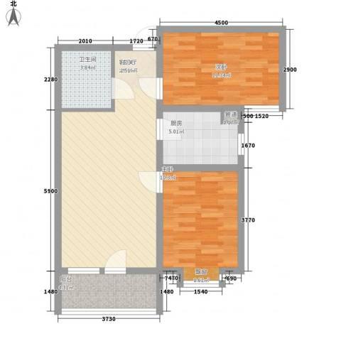 嘉华帕醍欧2室1厅1卫1厨84.00㎡户型图