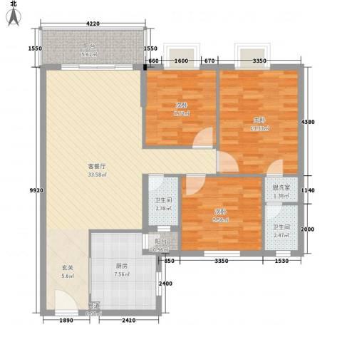 翠怡大厦3室1厅2卫1厨120.00㎡户型图