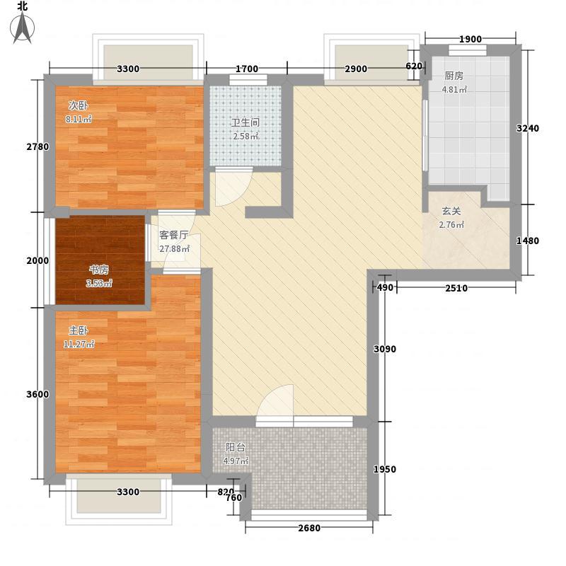 福星惠誉东湖城88.00㎡一期A1户型2室2厅1卫1厨