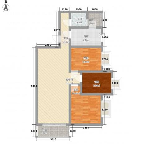 江南名苑3室1厅1卫1厨105.00㎡户型图