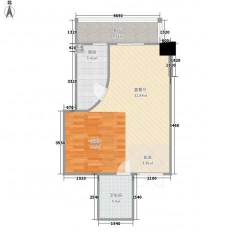 柳南商贸中心1厅1卫1厨65.00㎡户型图