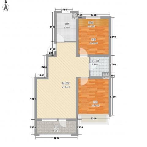 城建南郡2室0厅1卫1厨91.00㎡户型图
