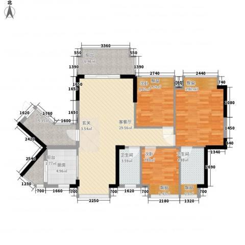 东港华府3室1厅2卫1厨88.28㎡户型图