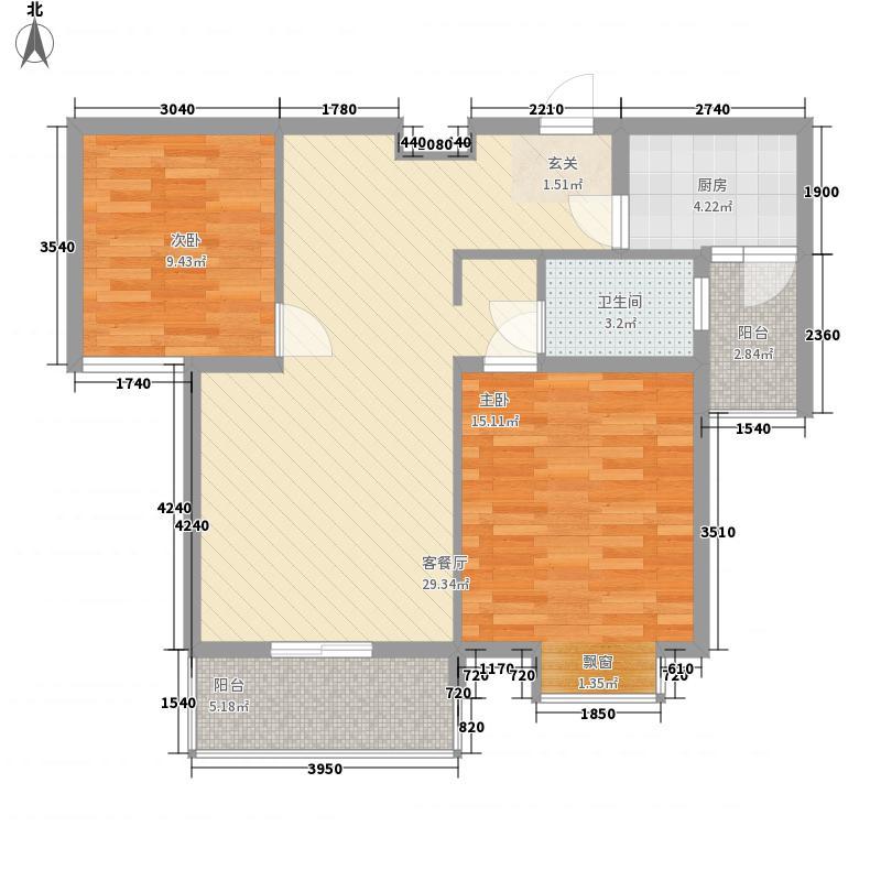 兴润香溪郡4.00㎡D2户型2室2厅1卫1厨