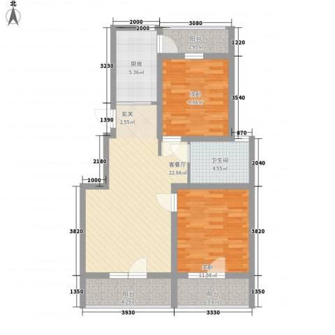 华新名筑2室1厅1卫1厨93.00㎡户型图