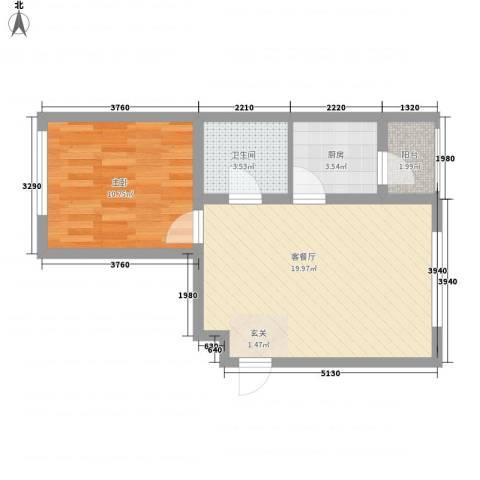 滨才城1室1厅1卫1厨39.78㎡户型图