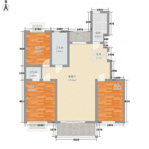 华林・灌南春天3室1厅2卫1厨131.00㎡户型图