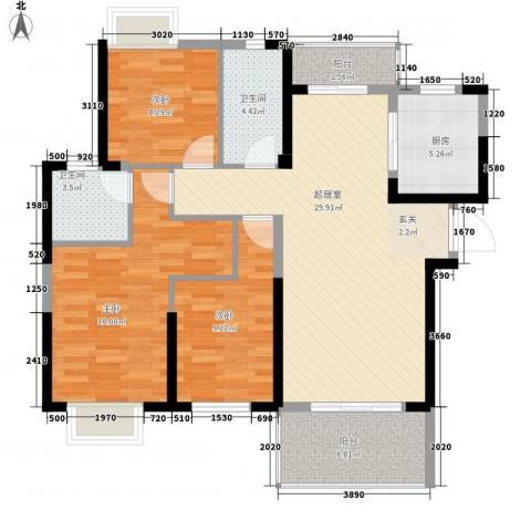 九江曼城3室0厅2卫1厨123.00㎡户型图