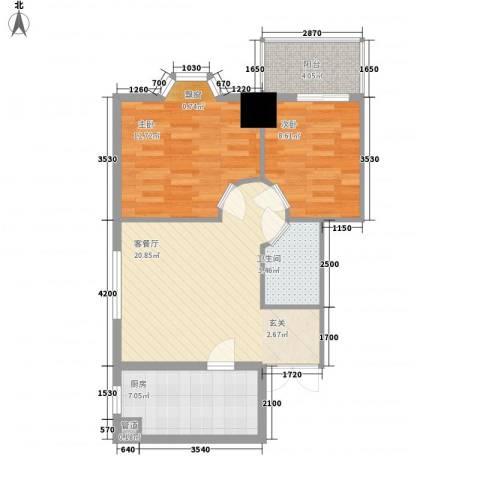 柳南商贸中心2室1厅1卫1厨80.00㎡户型图