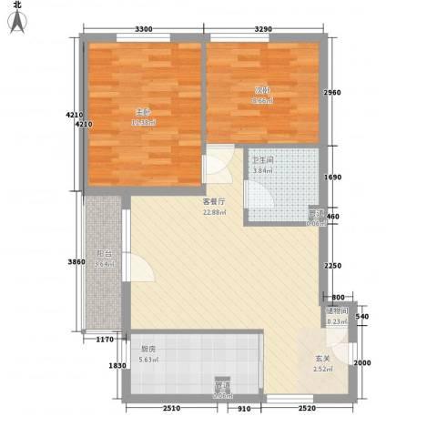 大南雅东商务公寓2室1厅1卫1厨81.00㎡户型图