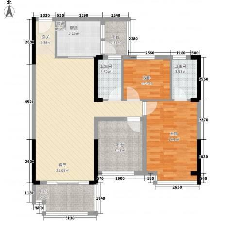 明大汇乐园2室1厅2卫1厨115.00㎡户型图