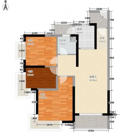 港航华庭3室1厅1卫1厨91.95㎡户型图