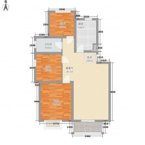 锦绣馨园3室1厅1卫1厨95.00㎡户型图