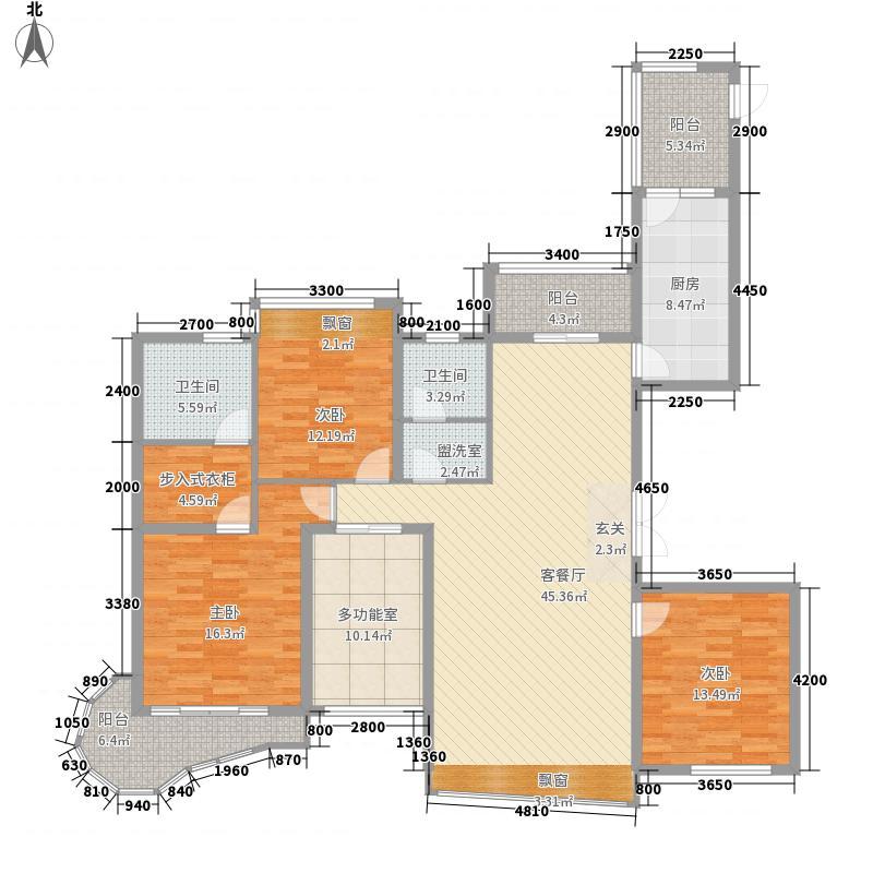 宜昌万达广场166.00㎡E1户型3室2厅2卫1厨