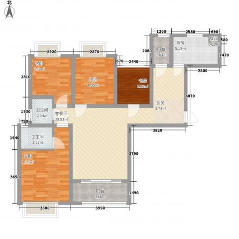 绿地香树花城4室1厅2卫1厨120.00㎡户型图