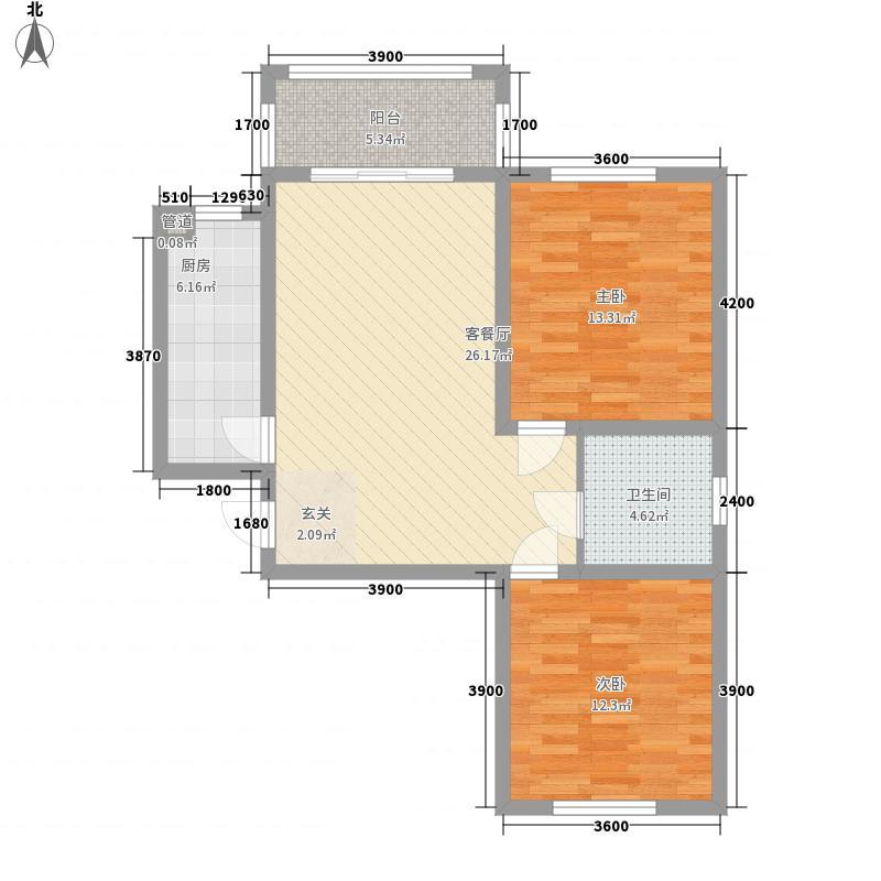塞纳阳光G户型2室2厅1卫1厨