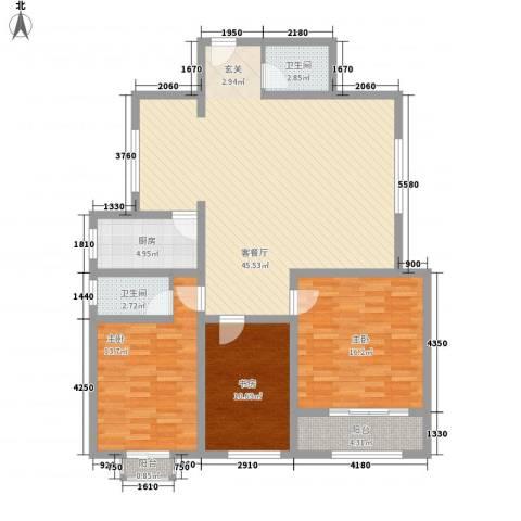 西南花园3室1厅2卫1厨145.00㎡户型图