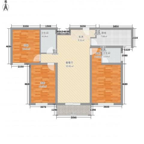 五龙花园3室1厅2卫1厨138.00㎡户型图