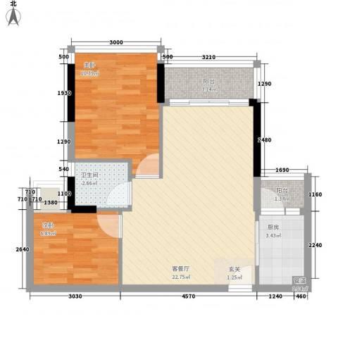 日升昌阳光御园2室1厅1卫1厨50.65㎡户型图
