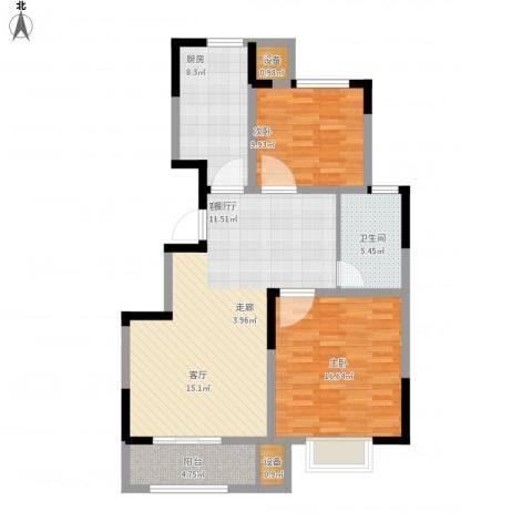 荣御华府2室1厅1卫1厨111.00㎡户型图
