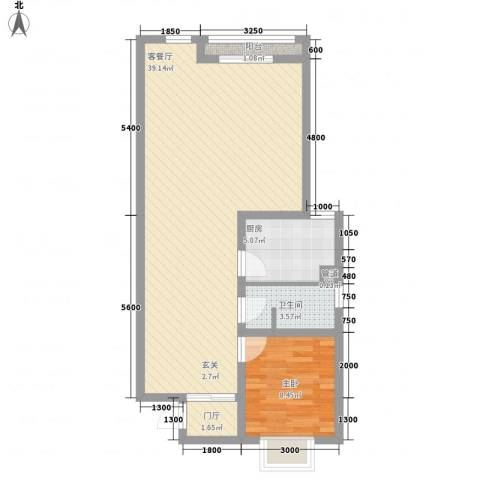 琵琶岛山水豪庭1室1厅1卫1厨85.00㎡户型图