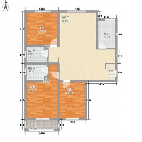 五龙花园3室1厅2卫1厨132.00㎡户型图