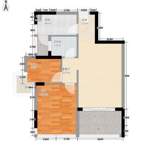 皓月花园2室1厅1卫1厨80.00㎡户型图
