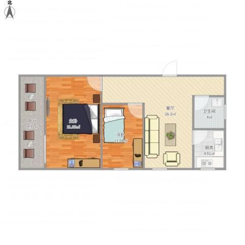 麒麟花园一期2室1厅1卫1厨104.00㎡户型图