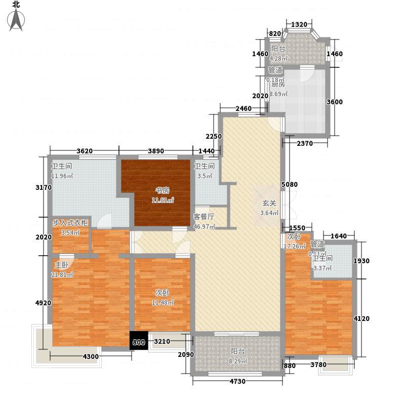 城建琥珀五环城4室1厅3卫1厨218.00㎡户型图