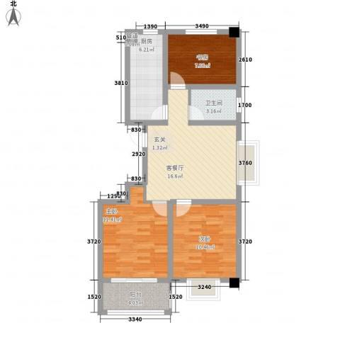 华都颐年园3室1厅1卫1厨87.00㎡户型图