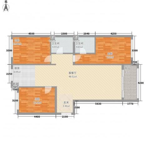 大唐天下江山3室1厅2卫0厨145.00㎡户型图
