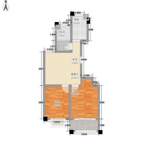 华都颐年园2室1厅1卫1厨73.00㎡户型图