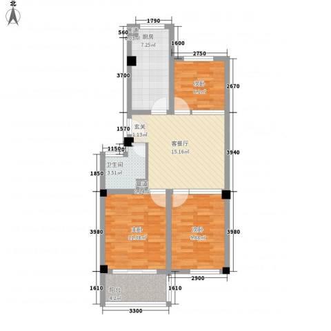 城市印象3室1厅1卫1厨83.00㎡户型图