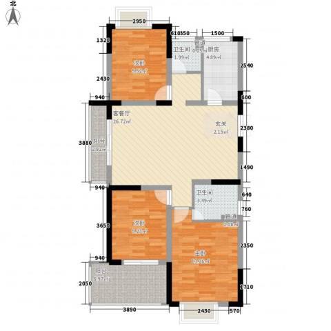 滨河御景3室1厅2卫1厨114.00㎡户型图